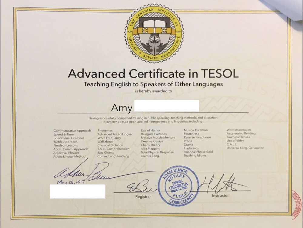 Advanced Certificate in TESOL