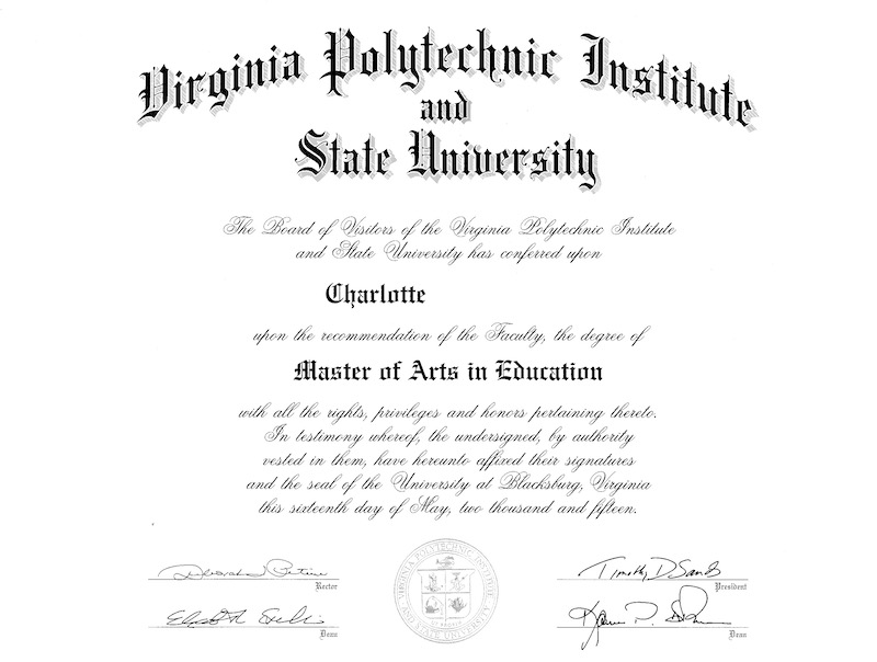 Master of Arts in Education Diploma