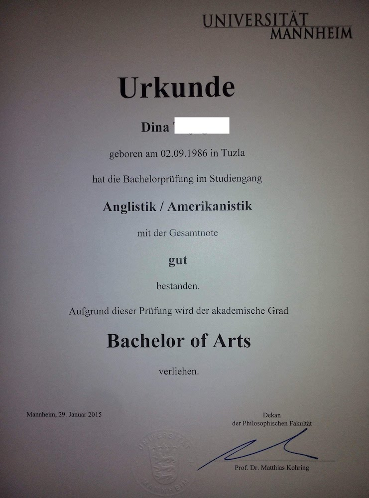 Bachelor of Arts in English and American Studies Diploma