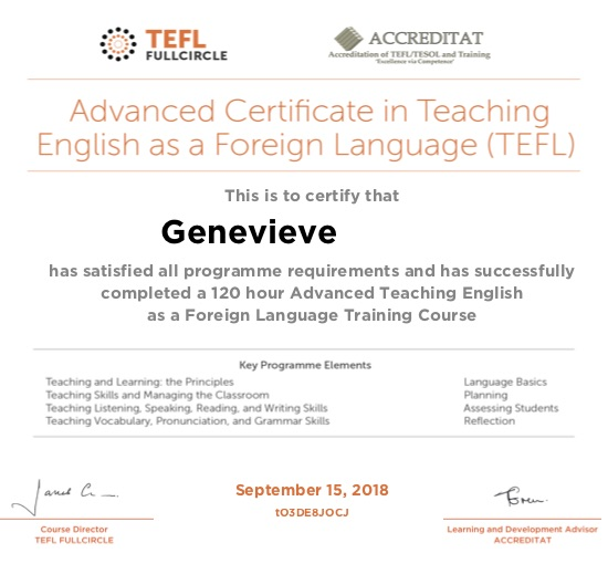 Advanced Certificate in Teaching English as a Foreign Language