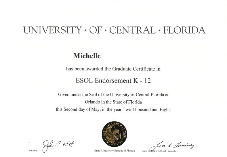 Kindergarten – 12th Grade ESOL Certificate ~ Esol endorsement - K12